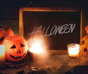 Halloween scene with pumpkins