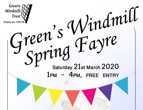 Poster for Greens Windmill Spring Fayre event