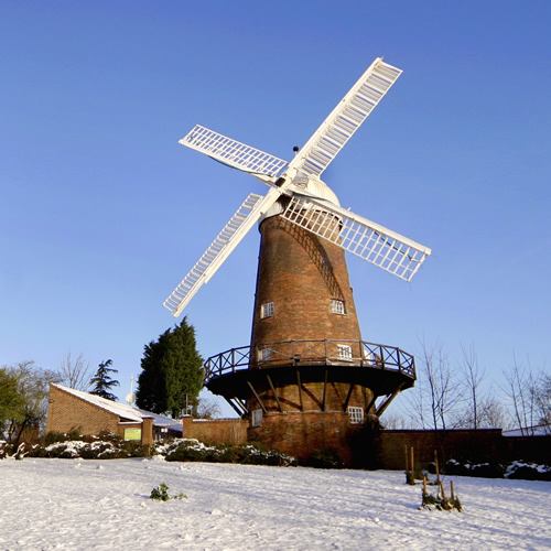 Green's Windmill in the snow