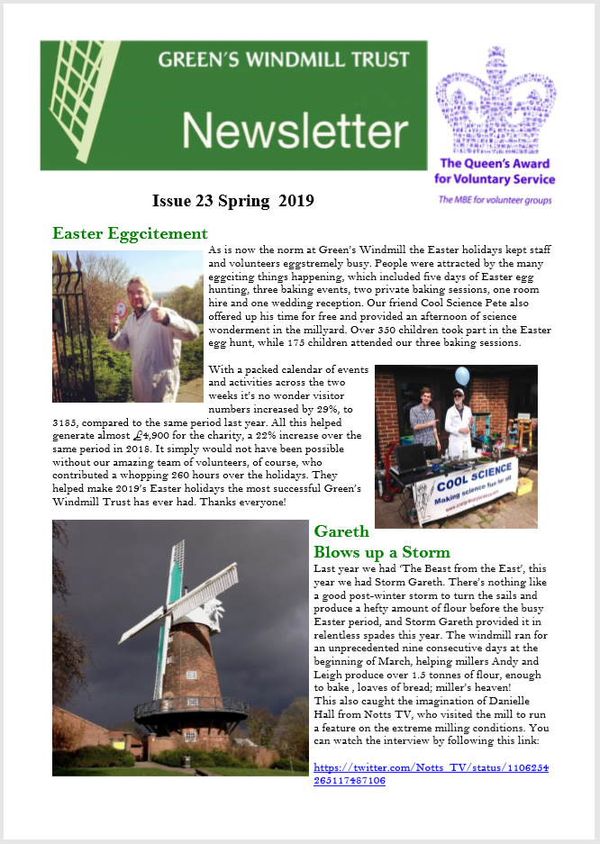 Green's Windmill Issue 23 newsletter