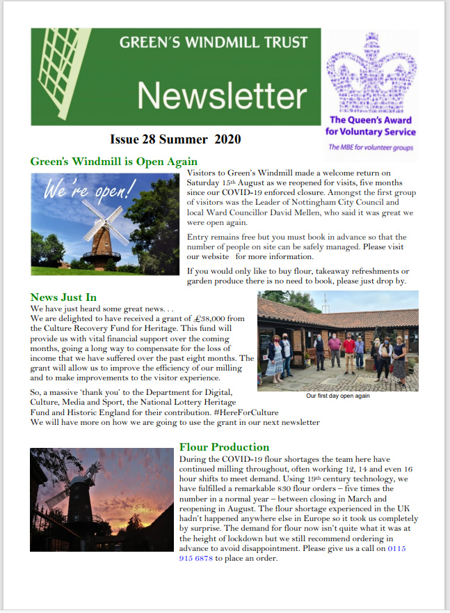 Download Issue 28, Greens Windmill Summer 2020 Newsletter here (pdf)