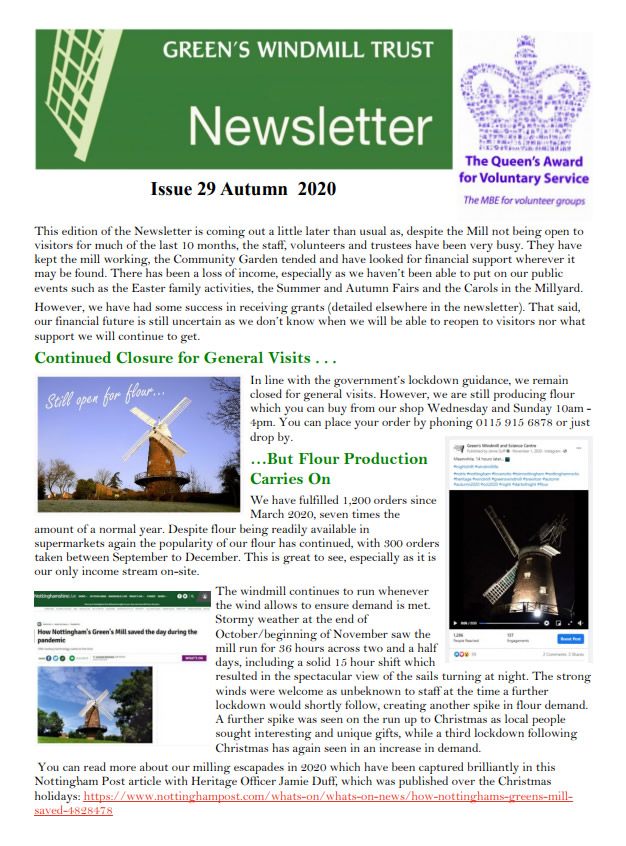 Front cover of the issue 29 newsletter