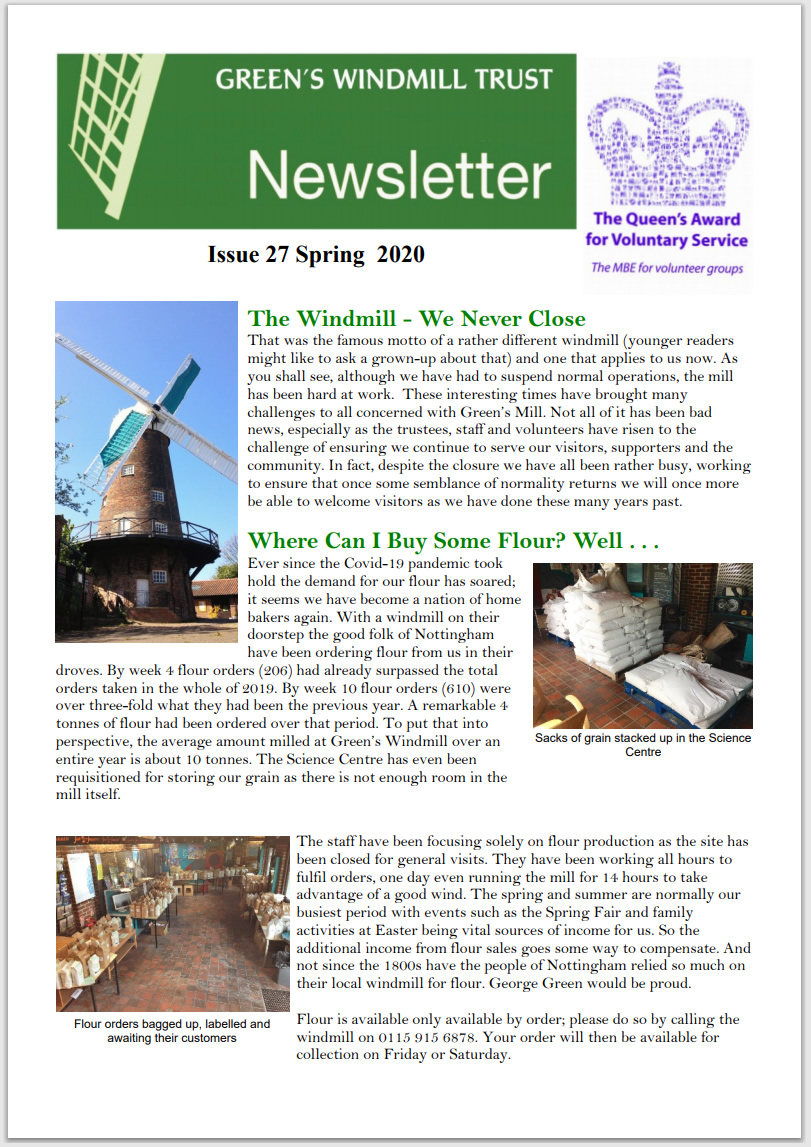 The cover of the Spring 2020 Greens Windmill newsletter, issue 27