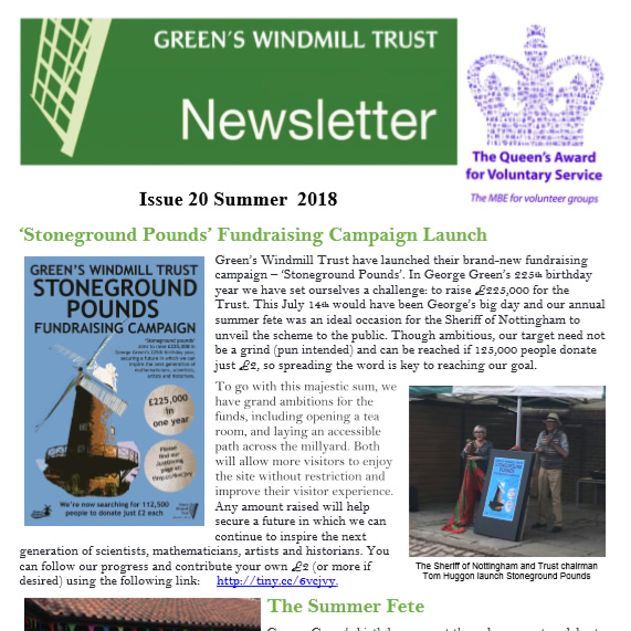 Green's Windmill issue 20, Summer 2018 Newsletter