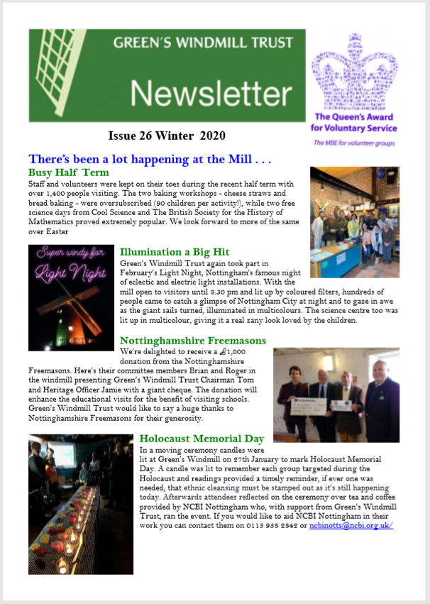 Front cover of the winter 2020 Green's Windmill newsletter